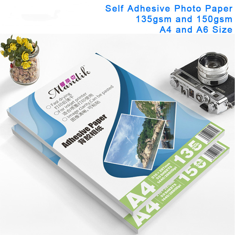 135g 150g Self-adhesive Inkjet Printing And Self-adhesive Stickers Photo Paper Inkjet Printing Stickers A4 50Sheets A6 100Sheets