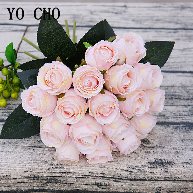 18 Heads Rose Pink Silk Artificial Flowers Fake Roses Flowers Bride Bouquet Wedding Table Decor Home Desk Room DIY Arrange Flore
