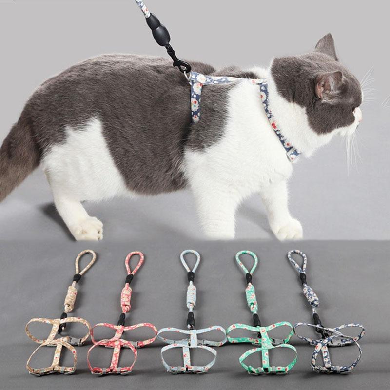 Удобный поводок для домашних животных, Нейлоновый Регулируемый ошейник для кошки, ремень для котенка, ремень безопасности, поводок для щенк...
