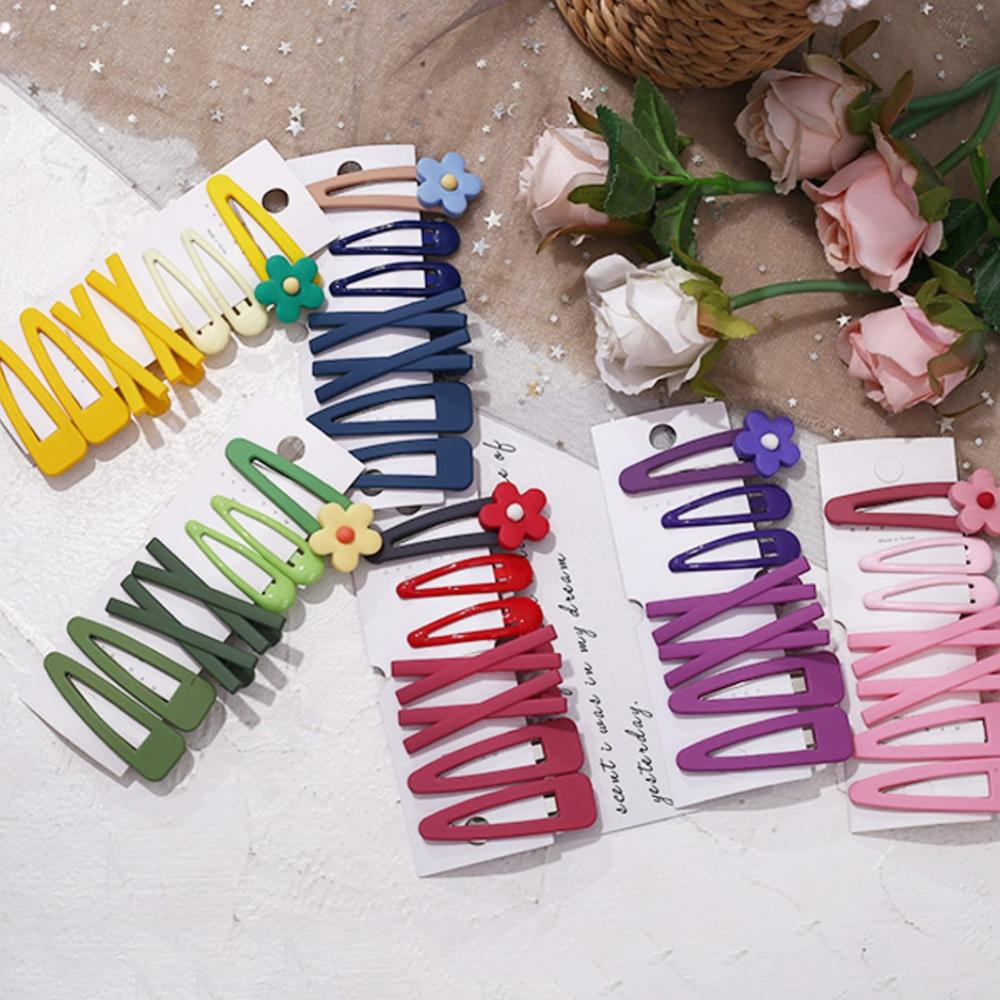 Fashion 7PCS/Set Women Girls Candy Colors Cute Flower Geometric Hair Clips Sweet Hairpins Headband Barrettes Hair Accessories