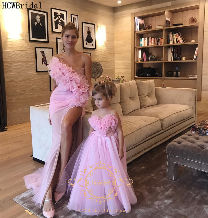 Sexy Pink Prom Dresses Long One Shoulder Side Slit Ruffles Tulle Mother And Daughter Dresses Customize Party Gowns Robe Soiree
