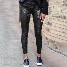 Leggings de Sport en cuir Sexy pour femmes, pantalon imprimé léopard, serré, taille haute décontractée @ 40