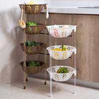 Brown 3 Tier Kitchen Storage Rack Stackable Fruit Vegetable Shelf Basket Organizer 4 layer Floor Stand Plastic Hollow Shelf B576