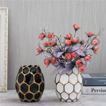 Ceramic Blank Space Vase Hydroponic Dried Flowers Modern Dining Table Countertop Flower Basin Fashion Home Decoration R4335