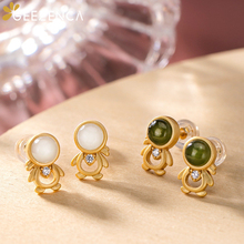 925 Sterling Silver Gold Plated White Green Jade Stud Earrings Cute Doll Natural Stone Earrings Fine Jewelry Girl 2020 Summer