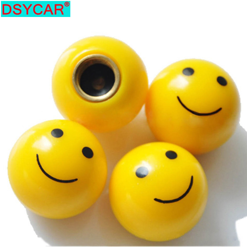 DSYCAR 4pcs/lot Universal Smile Car Bike Moto Tires Wheel Valve Cap Cover Car Styling For Fiat Audi Ford Bmw VW Jeep Car Opel