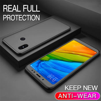 360 Degree Case For Xiaomi 5X 6X 8 Lite 9 SE A3 9T Phone Shell Redmi 9 Note 9S 8 8T 7 6 5 Pro 7A 8A 9A 9C Full Cover With Glass - For Mi A2 Lite, Bk