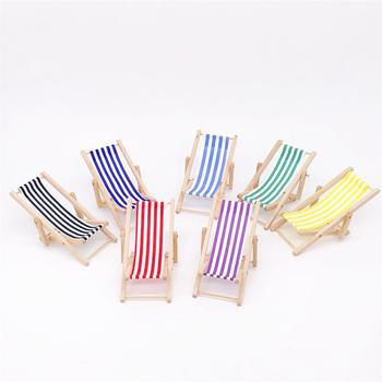 цены Chaise Longue 1:12 Dollhouse Folding Mini Beach Lounge Chair Dollhouse Miniature Chairs Garden Furniture Stripe Deck Chair