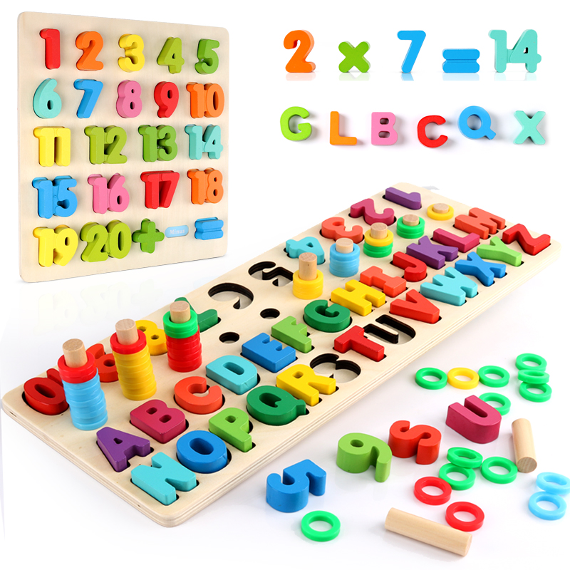 Children Wooden Toys Montessori Materials Learn To Count Numbers Matching Digital Shape Match Early Education Teaching Math Toys