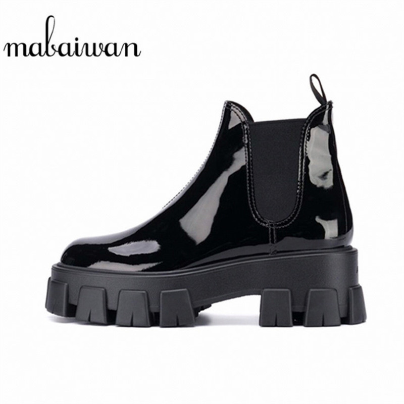 Mabaiwan marque concepteur femmes noir microfibre plate-forme bottines chaussures à talons carrés épais femmes en cuir verni bottes décontractées