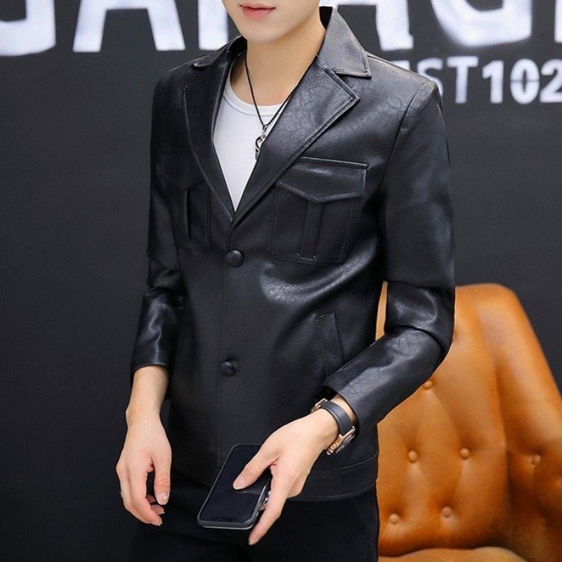 Men Vintage Pu Leather Jacket Single Breasted Streetwear Motorcycle Coat High Quality Black Slim Fit Work Office Blazer Male