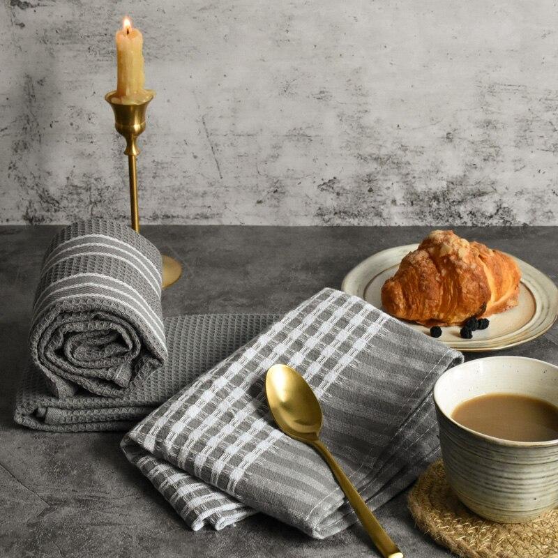 Cotton Waffle Grey Tea Napkin European And American High End Hotel Western Restaurant Household Kitchen Towel