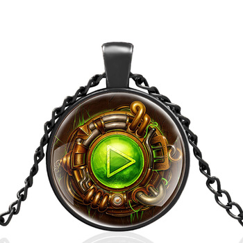 Black Punk Style Pause Button Design Glass Dome Pendant Necklace Men Women Vintage Jewelry Accessories Best Gifts image