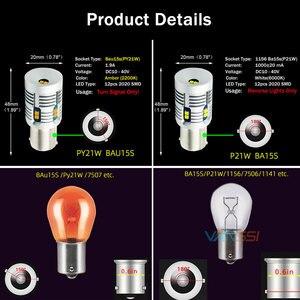 Image 4 - 2 pièces Bau15s 7507 PY21W LED Canbus, sans erreur, Flash, 2000lm BA15S P21W 7506 1156 LED, ampoule de Signal 6000k, blanc/ambre, jaune