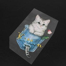 DIY Appliques Flower Cat Bag Patch Iron On T-shirt Dress Heat Transfer Sticker 72XF(China)