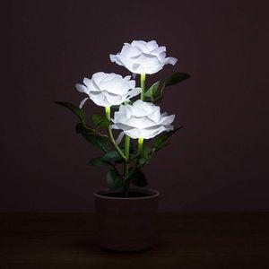 Image 3 - Planta Artificial Led rosa para balcón, jardín, jardín, Lámpara decorativa para mesita de noche, alimentada por energía Solar, maceta de flores para dormitorio blanca