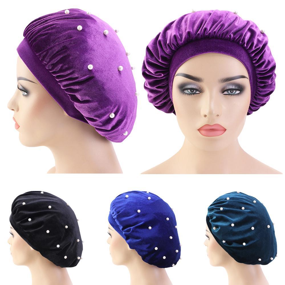 Women Velvet Sleep Night Cap Soft Beads Turban Beanie Bonnet Head Scarf Hair Loss Cover Stretch Sleeping Hat Nightcap Headwear