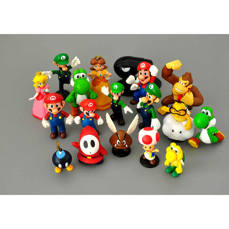 18 Stks/partij Super Mario Bros Pvc Action Figures Speelgoed Yoshi Perzik Prinses Luigi Shy Guy Odyssey Donkey Kong Model Cartoon poppen