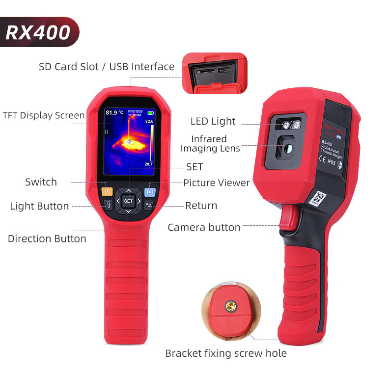 Digital Thermal Camera With A USB Cable Connected To Display For Temperature Measuring 30