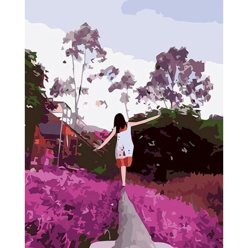 RUOPOTY Purple lavender girl Painting By Numbers Landscape DIY Oil Panting Landscape Canvas Wedding Decoration Art picture Gift-0