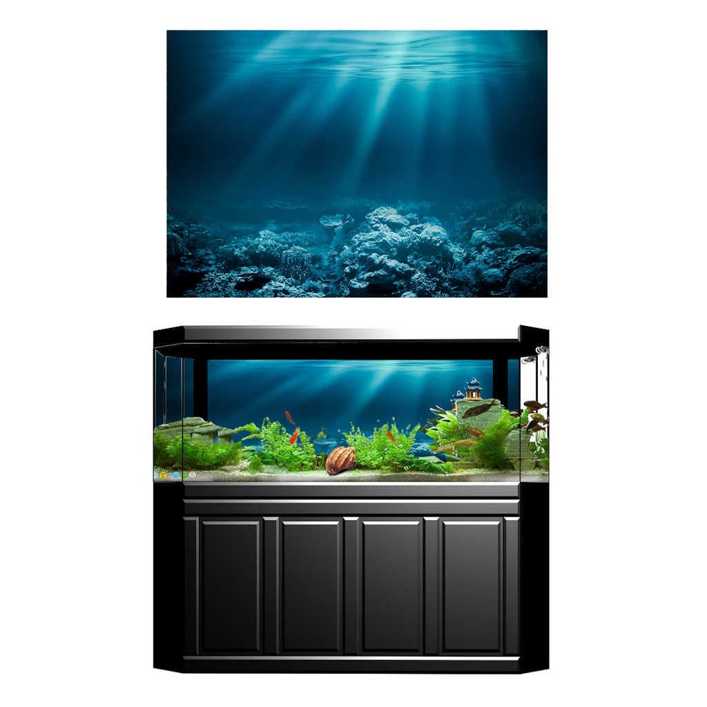 Serenable Latar Belakang Akuarium Kertas Stiker, 3D Tangki Ikan Wallpaper Perekat Dekorasi Bawah Air Latar Belakang
