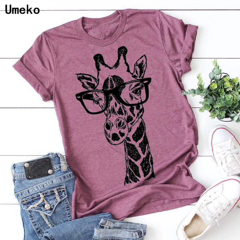 Umeko New Summer giraffe print t shirts for women cartoon casual t-shirt lady short sleeve tops tees shirt female clothes femme 2