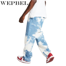 WEPBEL Men Casual Loose Straight Denim Pants Tie Dye Print Sky Blue Long Trouser Straight Jeans