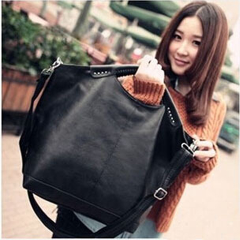 Women BAG Rivet-Package Shoulder-Bag Large Tote Pu Black Famous Designer High-Quality title=