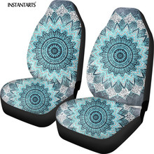 INSTANTARTS Fashion Bohochic Mandala in Blue Car Seat Covers for Women Girls Auto Interior Accessories Set of 2 Front Seat Cover universal auto car seat cover auto front rear chair covers seat cushion protector car interior accessories 3 colors