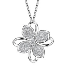 Flower Choker Necklace Jewelry Flower Silver Color Pendants Necklaces Chain Birthday Gift For Women(China)