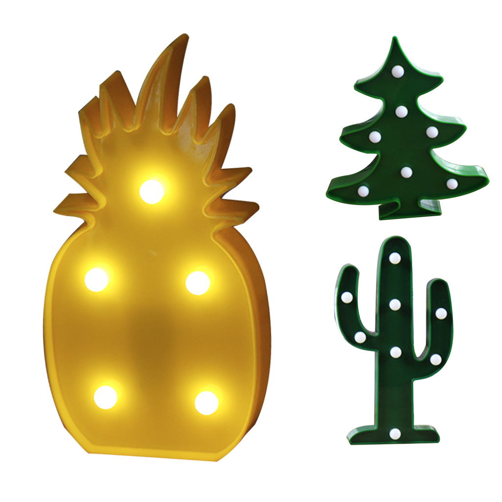 Cute LED Night Light Marquee Pineapple Cactus Star Luminary Wall Lamp Cartoon Animal Decor Lighting Gift Night Lamp Decoration
