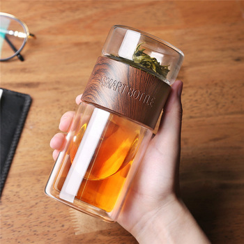 Glass Water Bottle With Tea Infuser Filter 200ml Tea Separation Double Wall Glass Bottle Bag Leakproof My Water Bottle Men Gift 1