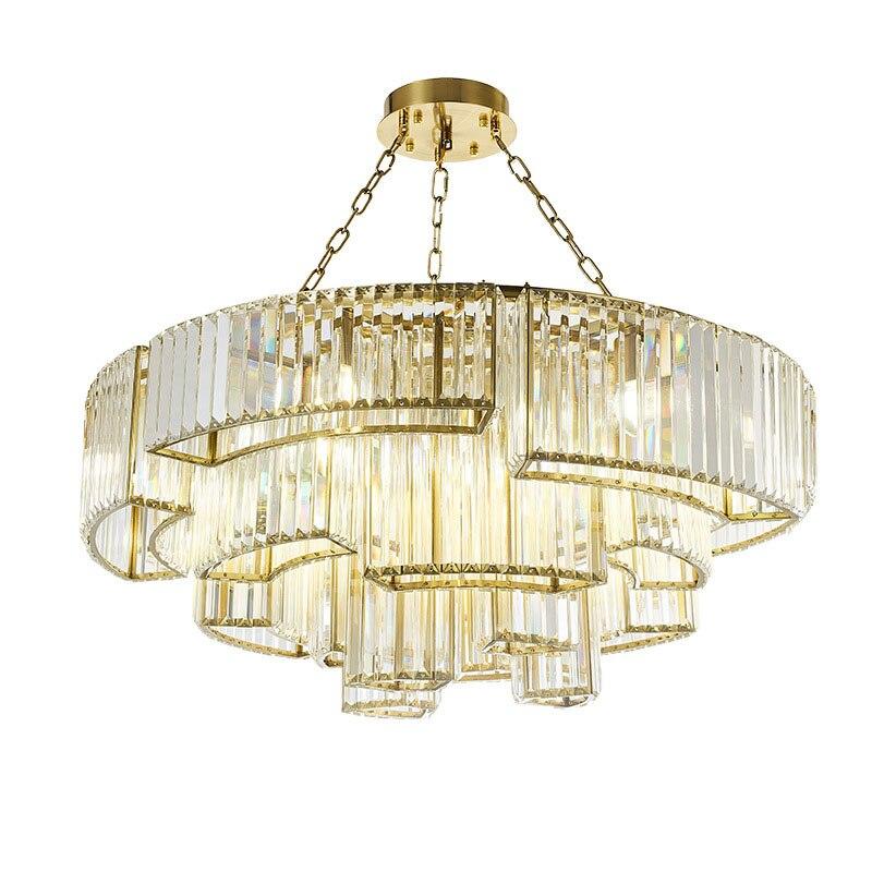 Işıklar ve Aydınlatma'ten Kolye ışıkları'de Amerikan yuvarlak kolye ışık Vintage minimalizm K9 kristal asılı halka lamba otel lüks süspansiyon lambası title=