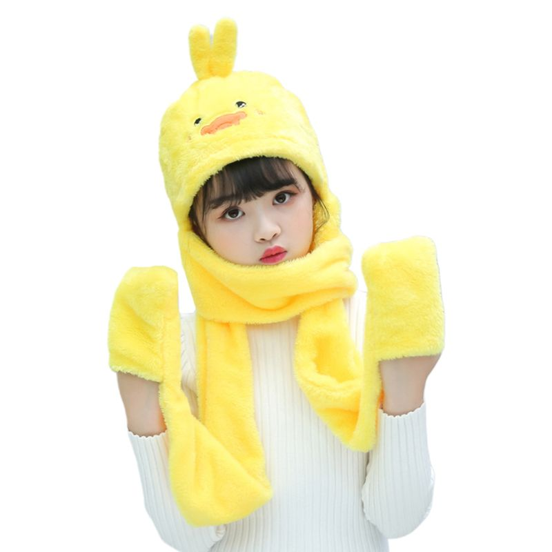 THINKTHENDO Unisex 3 In 1 Kids Scarf Hat Gloves Thick Plush Animal Pattern Hoodie Earflap