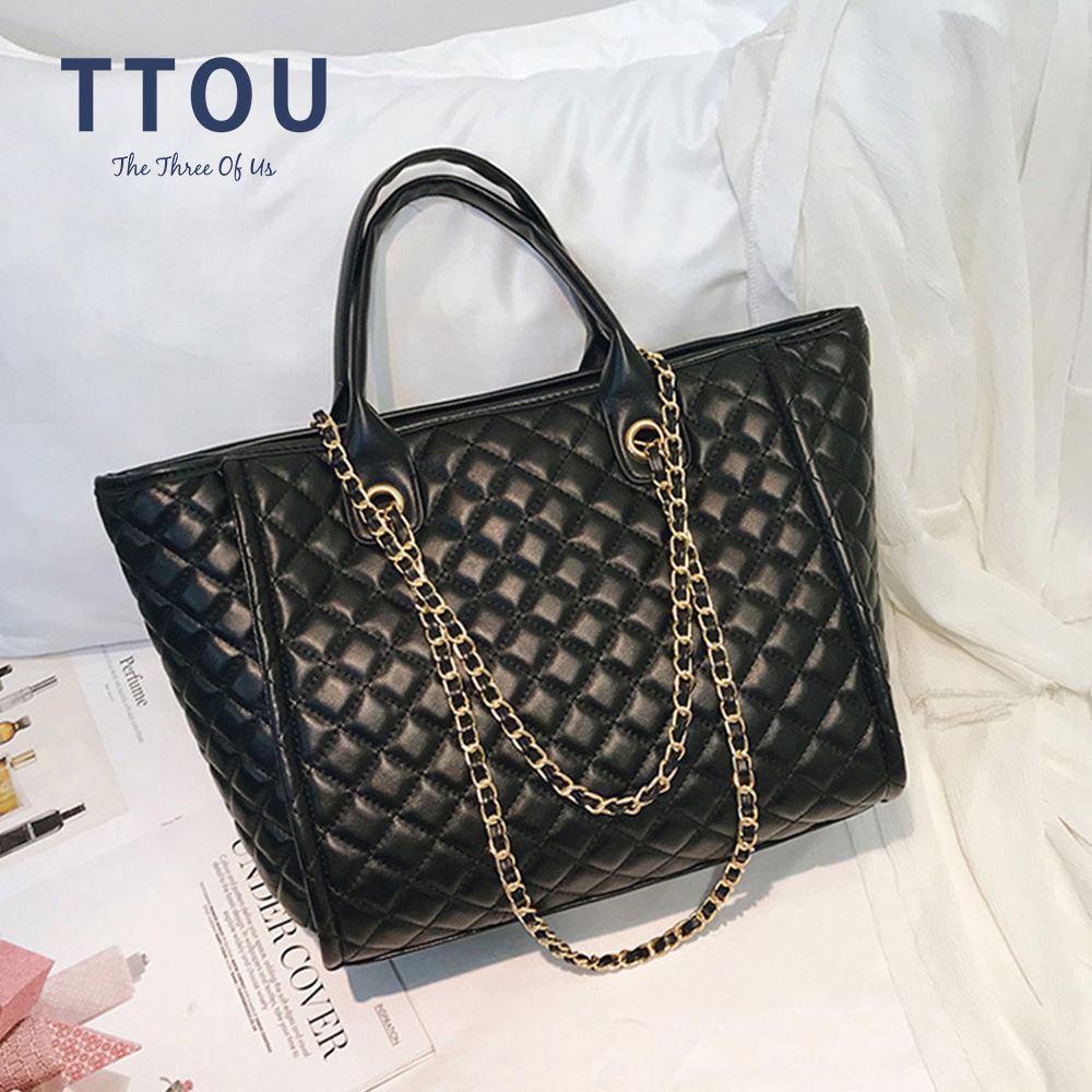 Casual Women Plaid Hand Bag Designer Chain Diamond Pattern Female Shoulder Messenger Bag Large Capacity Leather Lady Tote