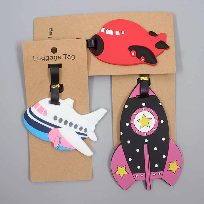 Reizen Accessoires Creatieve Rockets Vliegtuig Bagagelabel Silicagel Koffer Id Addres Houder Bagage Boarding Tag Draagbare Label