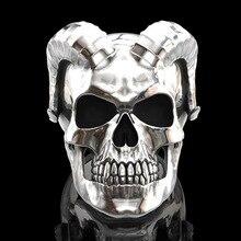 Unique Punk Gothic Satanic Demon Skull Ring Men Biker Ring Jewelry Gift Animal Finger Trendy Ring Female Male Engagement Party