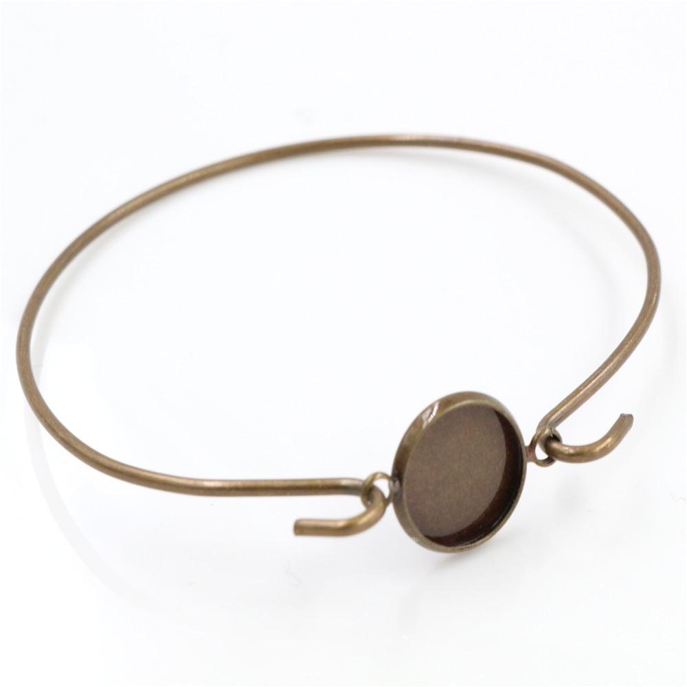 High Quality  2pcs 12mm Bronze Plated Handmade Bangle Base Bracelet Blank Findings Setting Cabochon Cameo-Z6-01