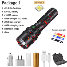 10000 lumen USB Rechargeable flashlight XHP50 Aluminum Waterproof outdoor hunting LED Flashlight Light Use18650/26650 Battery convoy l6 flashlight xhp70 led inside night light for outdoor camping fishing hunting with 2 26650 battery