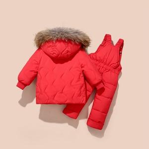 Image 4 - 冬の子供服セット雪のスーツジャケット + ジャンプスーツ2本セットベビー少年少女アヒルダウンコート幼児ガール冬服