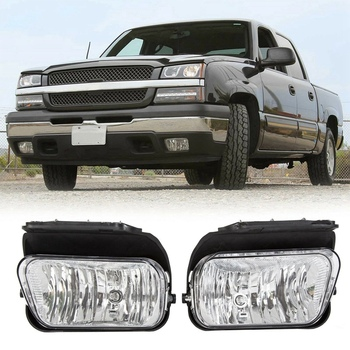 2Pcs Car Front Fog Lights Bumper Daytime Running Driving Lamps for Chevy Silverado Avalanche 1500 2500 3500 2003-2006