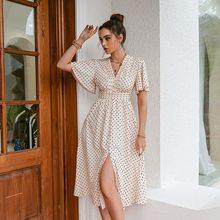 Simplee Chic polka dot botton a-line dress women Bell sleeve high waist maxi dress elegant Office lady dresses spring summer2021