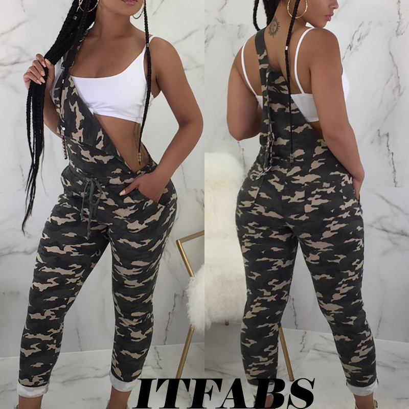 Autumn Sexy Camo Camouflage Printed Jumpsuit Women Overalls Playsuits Romper Straps Dungarees Harem Long Pants