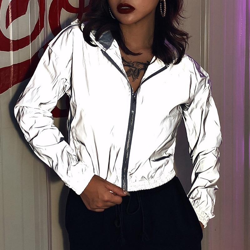 Spring Street Fashion Trendy Hooded Female Reflective Jacket