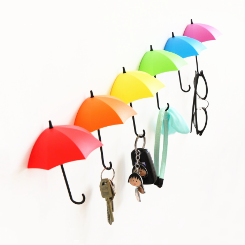 3PCS/Set Colorful Umbrella Shape Wall Hooks Umbrella Shape Wall Decor Racks Wall Organizer Containers For Kitchen Bathroom
