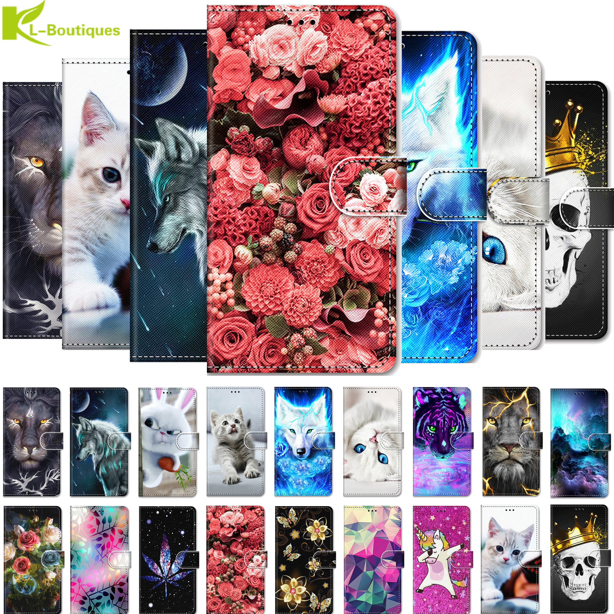 P Smart Plus 2019 POT-LX1T Case Etui On For Huawei Psmart Z Plus 2019 Honor 10i 10 20Lite Capa Animal Painted Flip Leather Cover