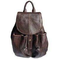Fashion women leather backpack women backpack for teenage girls Genuine leather school bag female drawstring bag bagpack Brown