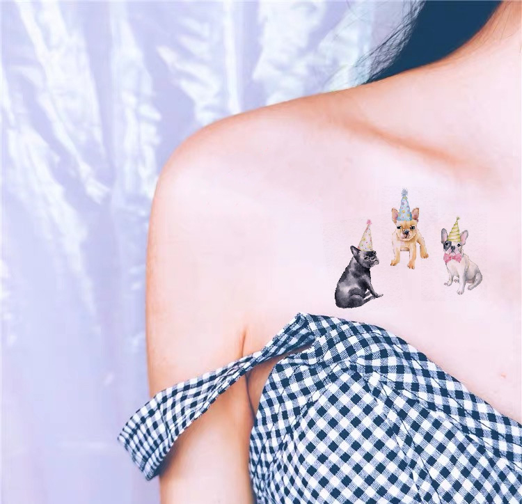 Waterproof Temporary Fake Tattoo Stickers Brown Grey Dogs Cartoon Design Body Art Make Up Tools in Temporary Tattoos from Beauty Health