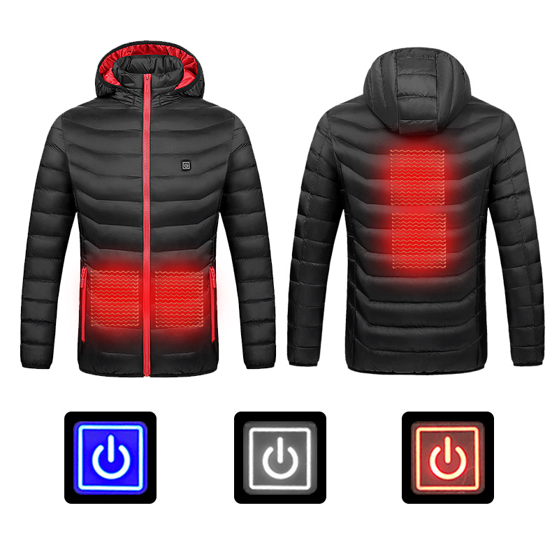 2019 Men Winter Heated Jacket Outdoor USB Infrared Heating Hooded Jacket Electric Thermal Clothing Coat For Hiking Heated Jacket