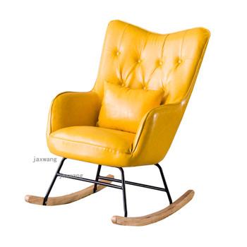Nowoczesne oparcie leżak Nordic bujane krzesła domowe meble dekoracyjne drewniane leniwe krzesła American Sofa fotel wypoczynkowy tanie i dobre opinie Tkaniny L70cm*H95cm Szezlong Meble do domu Europa i ameryka Meble do salonu